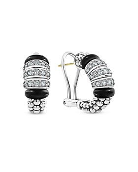 LAGOS - Sterling Silver Black Caviar Diamond & Black Ceramic Omega Back Earrings