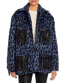 Andamane - Evita Leopard Print Fringe Trim Jacket
