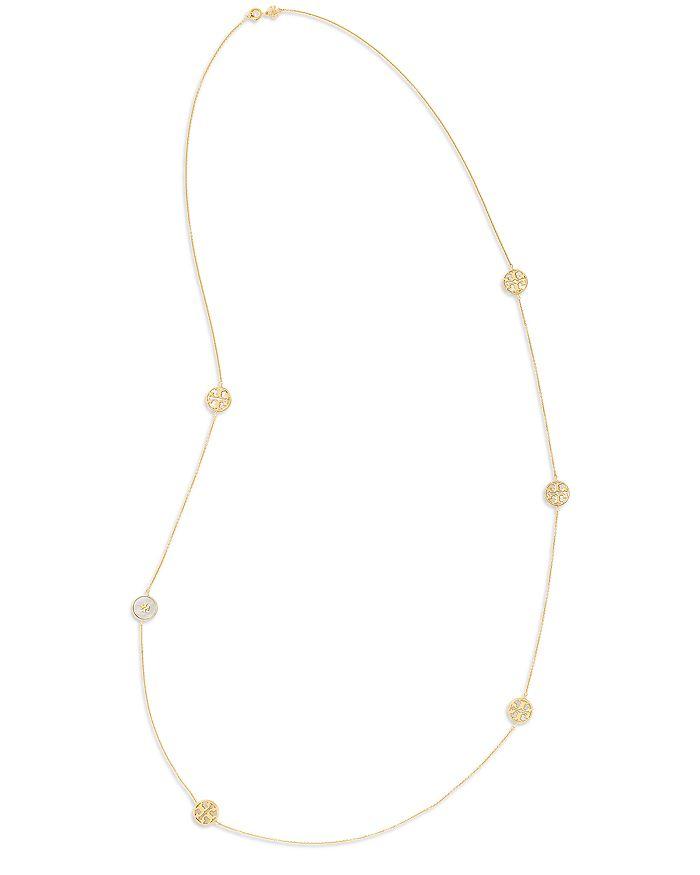 "Tory Burch - Kira Semi Precious Logo Strand Necklace, 38"""