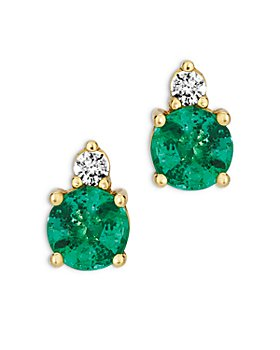 Bloomingdale's - Emerald and Diamond Stud Earrings in 14K Yellow Gold - 100% Exclusive