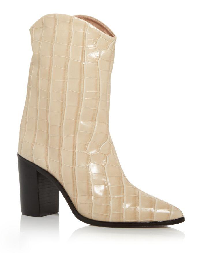 SCHUTZ Women's Vonna Croc Embossed High Block Heel Booties    Bloomingdale's
