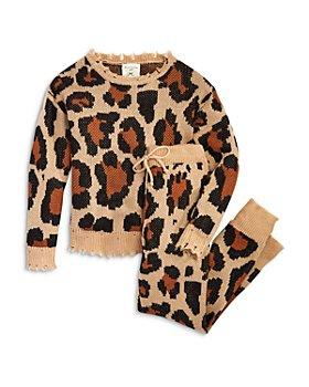 Hayden Los Angeles - Girls' Leopard Distressed Sweater & Jogger Pants Set - Big Kid