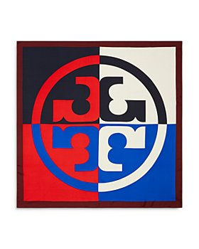 Tory Burch - Color Blocked Logo Silk Scarf