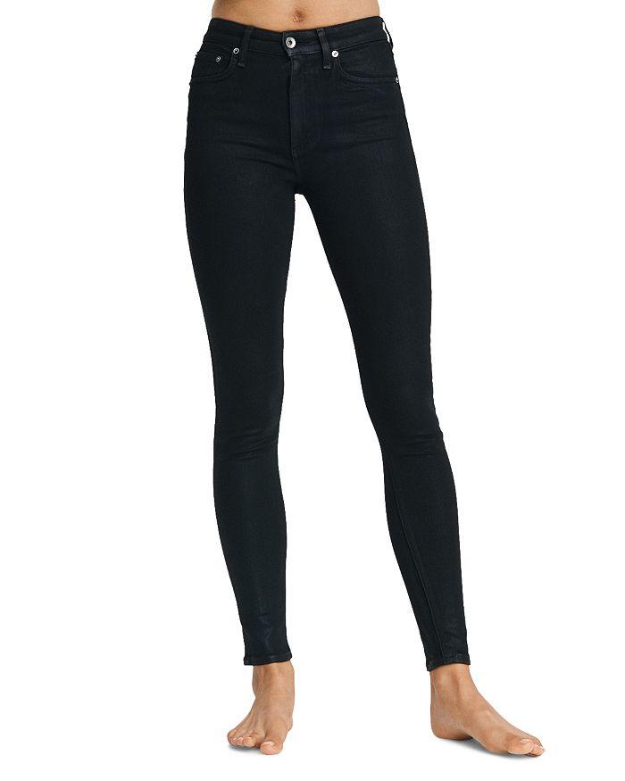 rag & bone - Nina High Rise Skinny Jeans in Coated Black