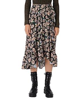 Maje - Jisley Ruffled Paisley Print Midi Skirt