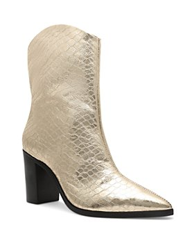 SCHUTZ - Women's Vonna Croc Embossed High Block Heel Booties