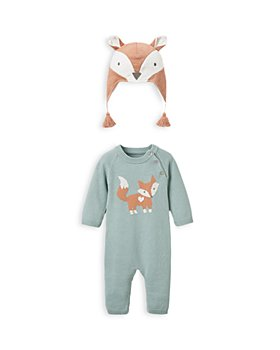 Elegant Baby - Boys' 2-Piece Knit Fox Coverall & Fleece Hat Set - Baby