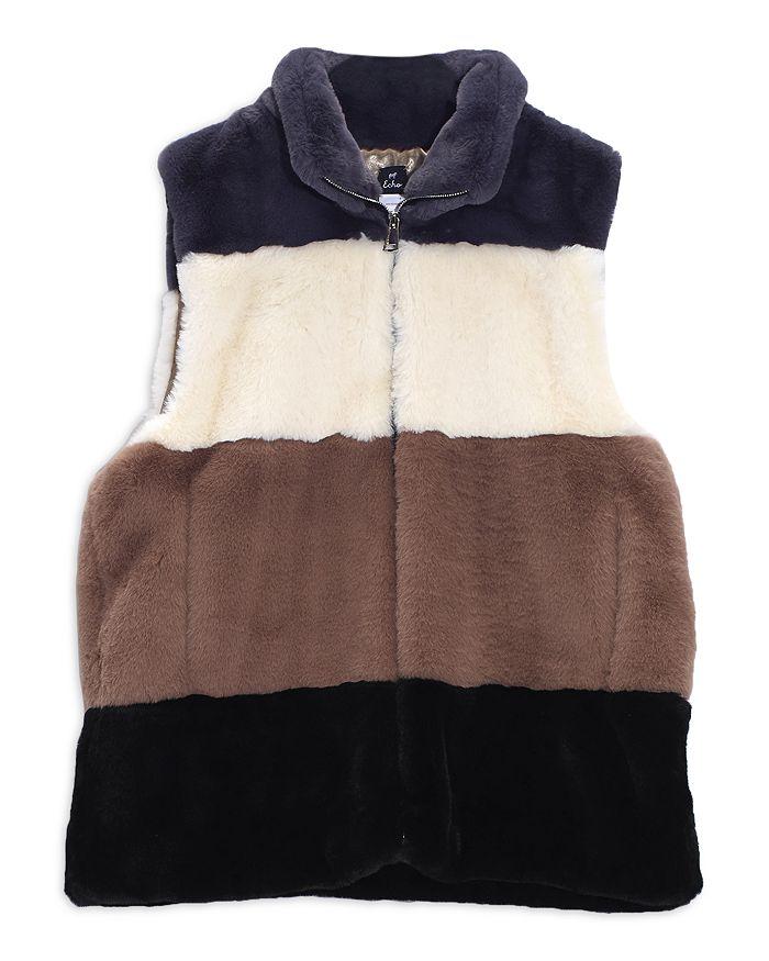 Echo - Faux Fur Colorblock Zip Front Vest