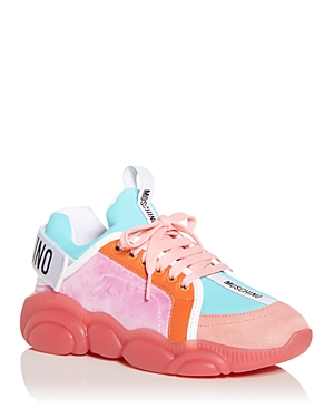 Moschino WOMEN'S MIXED MEDIA LOW TOP SNEAKERS