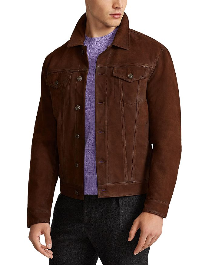 Polo Ralph Lauren Trucker Bonded Nubuck Unlined Jacket In Cooper Brown