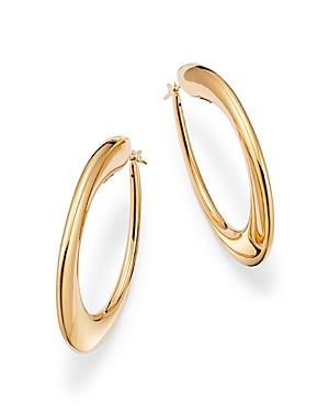 14K Yellow Gold Tapered Slim Hoop Earrings
