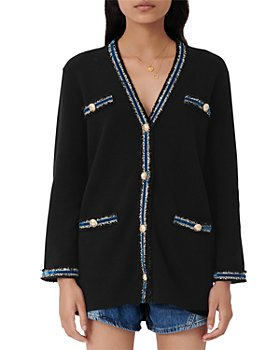 Maje - Myster Striped Metallic Trimmed Knit Cardigan