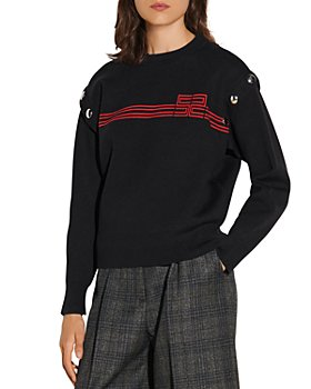 Sandro - Fire Press Stud Detail Stripe Sweater