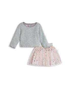 Pippa & Julie - Girls' Fuzzy Metallic Sweater & Starry Skirt Set - Baby