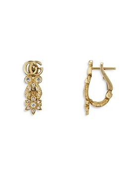 Gucci - 18K Yellow Gold Flora Diamond Double G & Flower Hoop Earrings