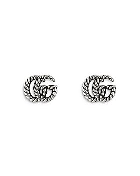 Gucci - Sterling Silver Marmont Double G Stud Earrings