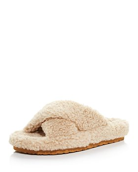 AQUA - Women's Fluff Faux Shearling Slide Slippers - 100% Exclusive