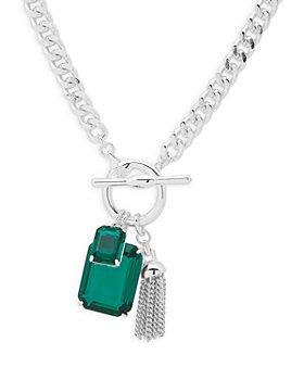 "Ralph Lauren - Blue Stone & Chain Tassel Pendant Necklace in Silver Tone, 17"""