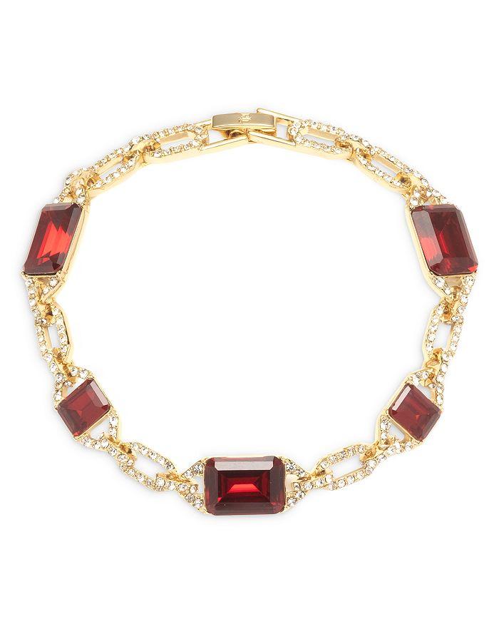 Ralph Lauren - Pavé & Red Stone Flex Bracelet in Gold Tone