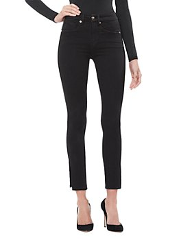 Good American - Good Waist Side Slit Crop Jeans in Black001
