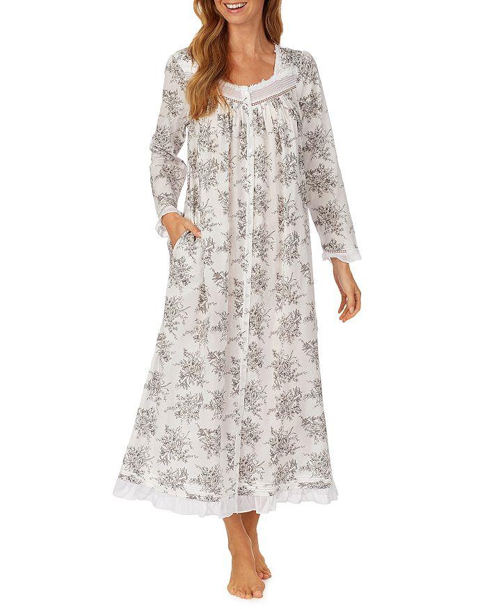 Eileen West - Floral Print Long Cotton Robe