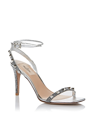 Valentino Garavani Women's Rockstud Ankle Strap Sandals with Crystal Embroidery