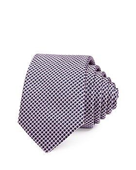 BOSS - Diamond Grid Silk Skinny Necktie