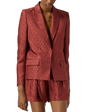 The Kooples Pink Jacquard Satin Suit Jacket