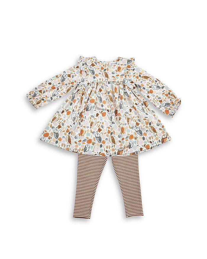 Angel Dear - Girls' 2 Pc. Owl Print Dress & Striped Leggings Set - Baby