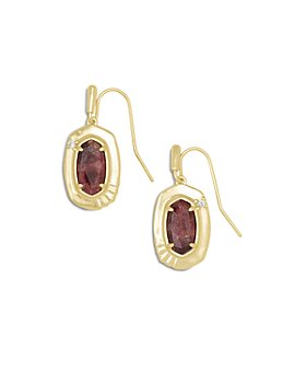 Kendra Scott - Anna Cubic Zirconia & Bronze Veined Maroon Jade Drop Earrings in 14K Gold Plate