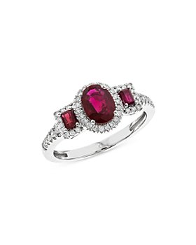 Bloomingdale's - Ruby & Diamond Halo Ring in 14K White Gold - 100% Exclusive