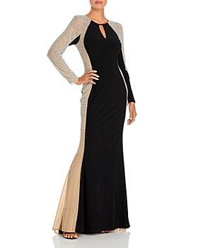 AQUA - Beaded Long Sleeve Gown