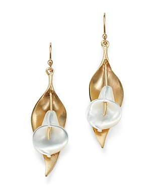 14K Yellow Gold Mother of Pearl Cala Lily Drop Earrings