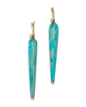 18K Yellow Gold Turquoise Bird Drop Earrings