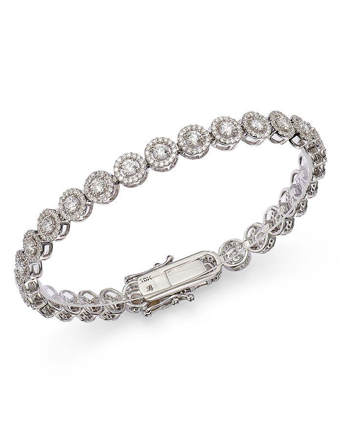 Bloomingdale's - Diamond Halo Tennis Bracelet in 14K White Gold, 4.0 ct. t.w. - 100% Exclusive
