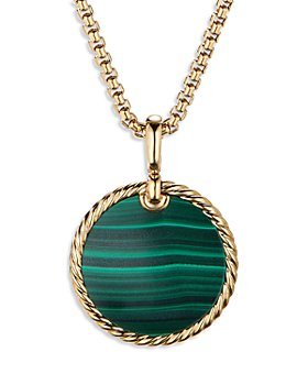 David Yurman - Small Cable Disc Amulet in 18K Yellow Gold with Malachite