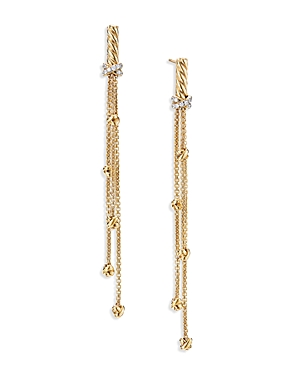 David Yurman PETITE HELENA CHAIN DROP EARRINGS IN 18K YELLOW GOLD WITH DIAMONDS