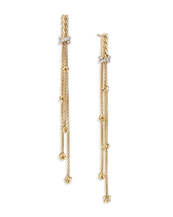 David Yurman Petite Helena Chain Drop Earrings in 18K Yellow Gold with Diamonds    Bloomingdale's