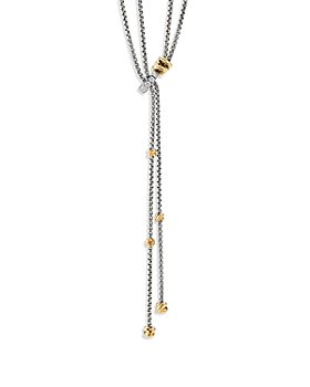David Yurman - Sterling Silver Petite Helena Y Necklace with 18K Yellow Gold & Diamonds, 50""