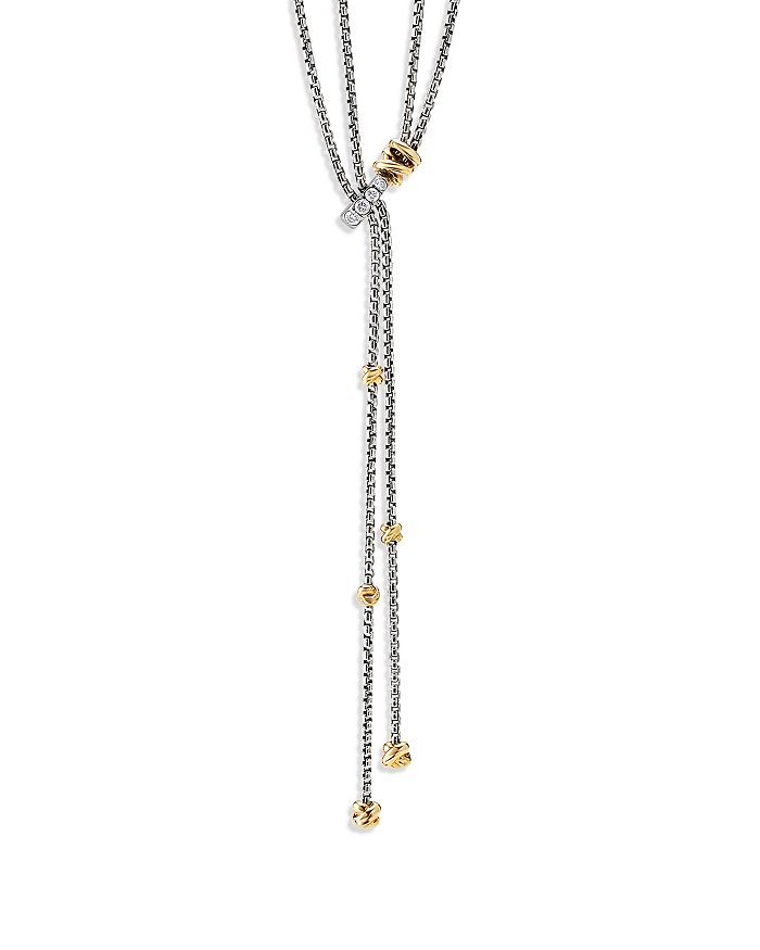 """David Yurman - Sterling Silver Petite Helena Y Necklace with 18K Yellow Gold & Diamonds, 50"""""""