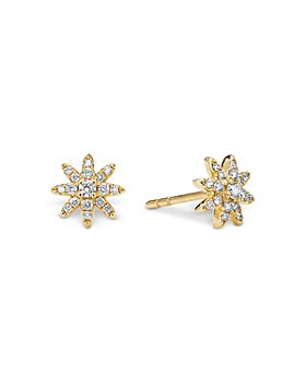 David Yurman - 18K Yellow Gold Petite Starburst Stud Earrings with Diamonds