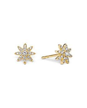 David Yurman - 18K Yellow Gold Petite Starburst Stud Earrings with Diamonds