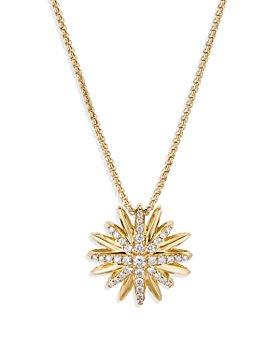 "David Yurman - Starburst Pendant Necklace in 18K Yellow Gold with Diamonds, 18"""