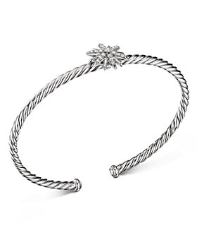 David Yurman - Sterling Silver Starburst Center Station Bangle Bracelet with Diamonds