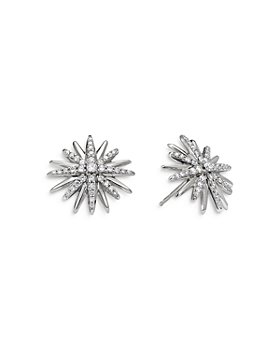 David Yurman - Sterling Silver Starburst Stud Earrings with Diamonds