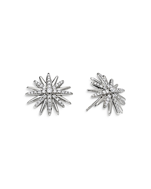 David Yurman STERLING SILVER STARBURST STUD EARRINGS WITH DIAMONDS