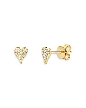 14K Yellow Gold Diamond Heart Stud Earrings