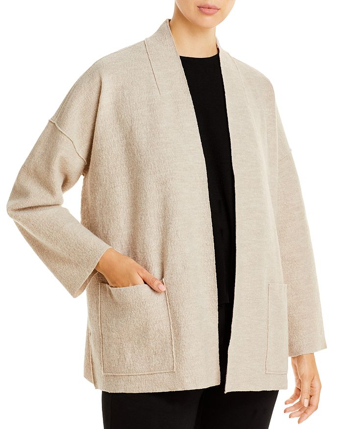 Eileen Fisher Petites - High Collar Open Wool Jacket