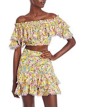 Charo Ruiz Ibiza - Cata Floral Print Ruffle Top & Fera Floral Print Ruffle Skirt