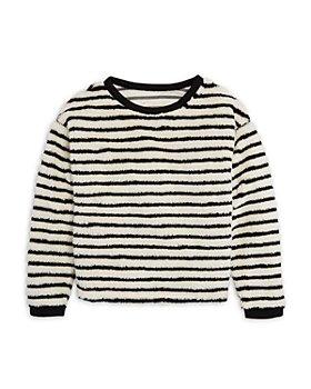 AQUA - Girls' Fuzzy Striped Sweater, Big Kid - 100% Exclusive